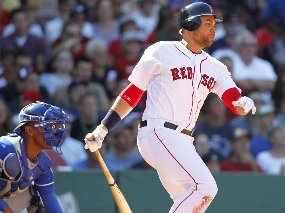 After going hitless in his first two at-bats as a member of the Red Sox, James Loney strokes a single to center to tie the game in the fifth inning.