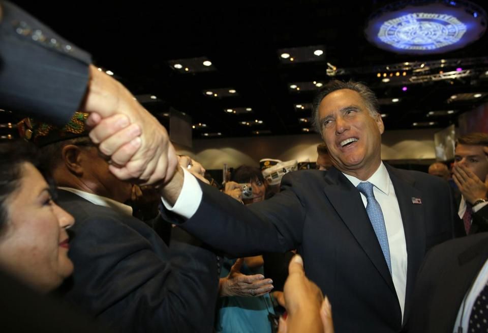Mitt Romney greeted audience members after addressing the American Legion's national convention in Indianapolis on Wednesday.
