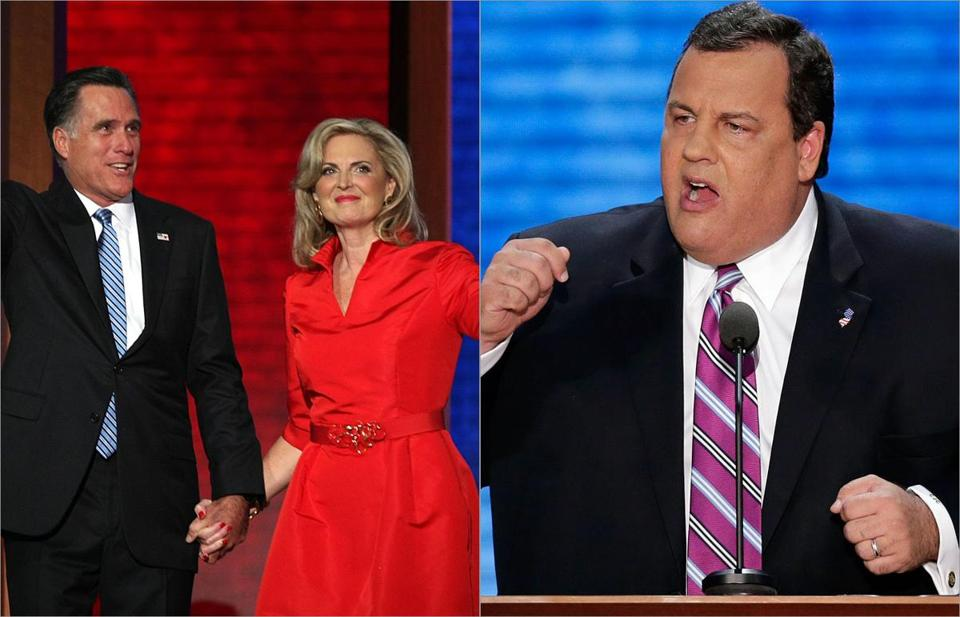 Ann Romney (left) electrified the crowd with a 20-minute speech while  keynote speaker Chris Christie, governor of New Jersey, rallied the party toward a path of hard decisions and hard work.