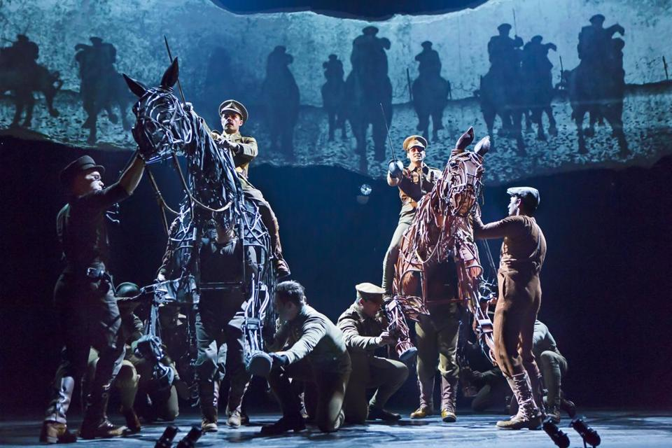 "On horseback, Grayson DeJesus (left) and Michael Wyatt Cox in the national touring production of ""War Horse,"" which comes to the Boston Opera House in October."