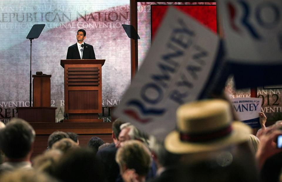 Republican vice presidential nominee Paul Ryan addressed delegates at the Republican convention.