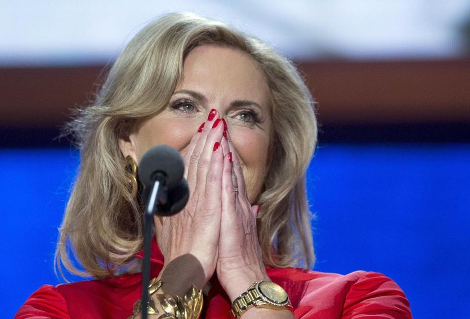 Ann Romney arrives on stage to deliver a speech Tuesday night.