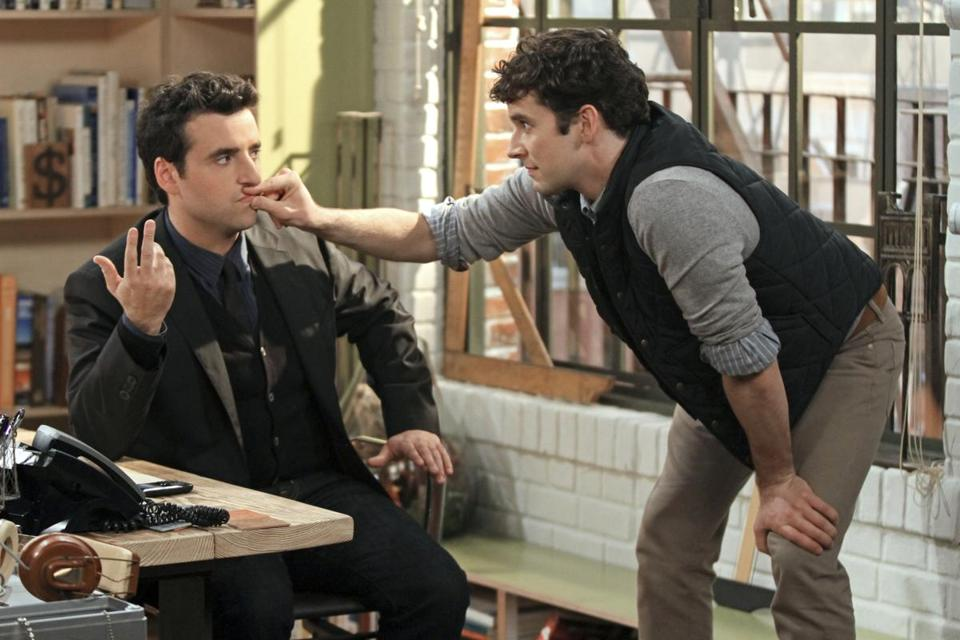 David Krumholtz, left, as Joe, a newly-engaged, accomplished architect and Michael Urie, who stars as Louis, Joe's gay co- worker and best friend.