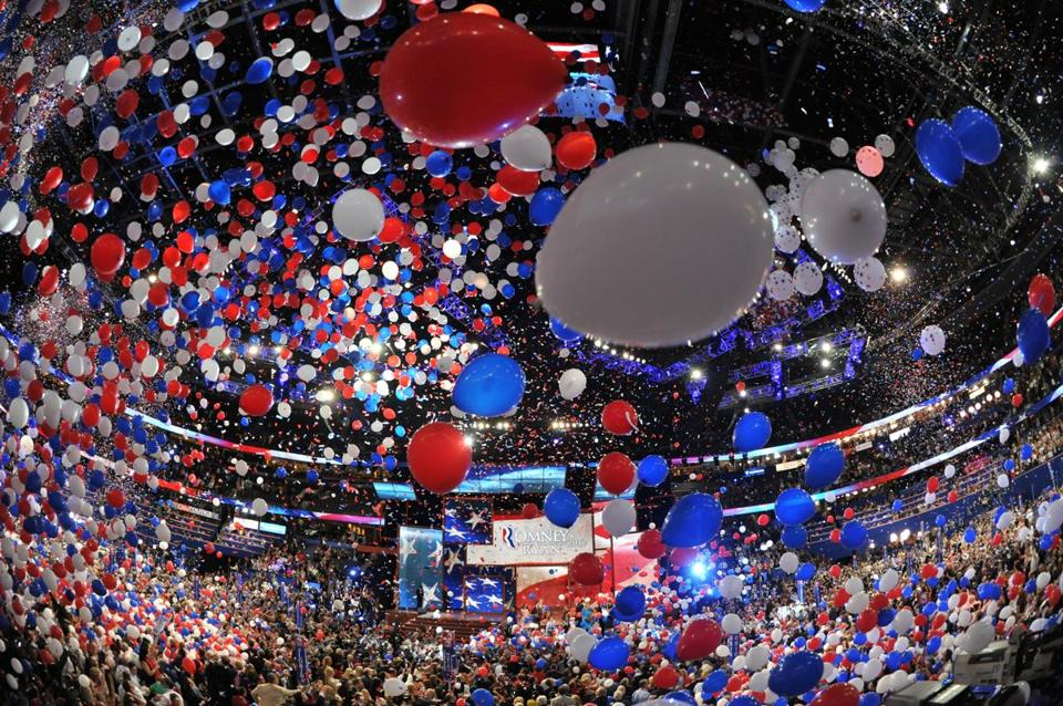 Balloons swirl in the air following Mitt Romney's acceptance speech in Tampa Friday.