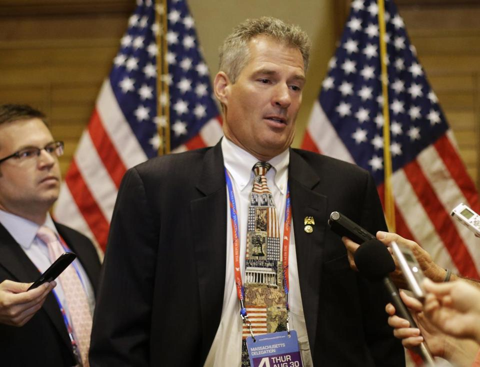 Scott Brown limited his convention trip to a day.