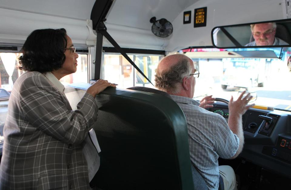 Superintendent Carol Johnson rode along as school bus routes were tested in Dorchester last week.