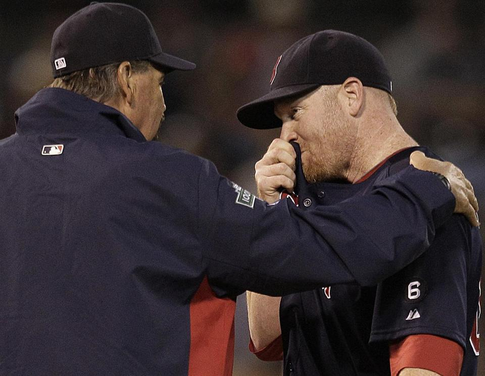 Pitching coach Randy Niemann couldn't help Red Sox starter Aaron Cook, who allowed six runs in 2 2/3 innings.