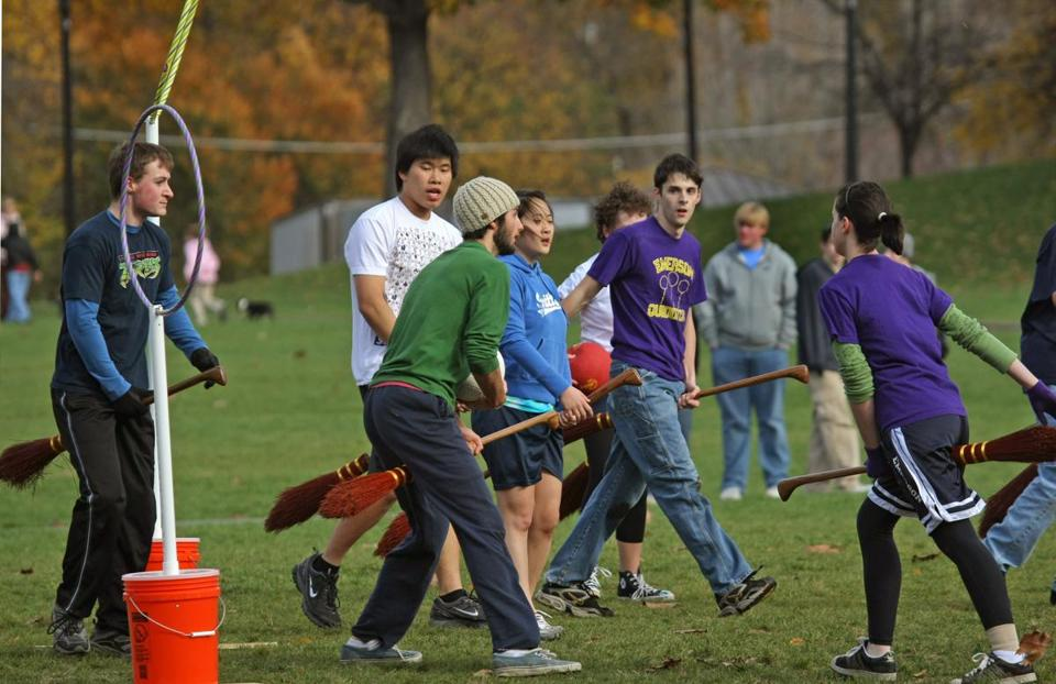 The Boylston Berserkers, made up of Emerson students, played quidditch on the Boston Common.
