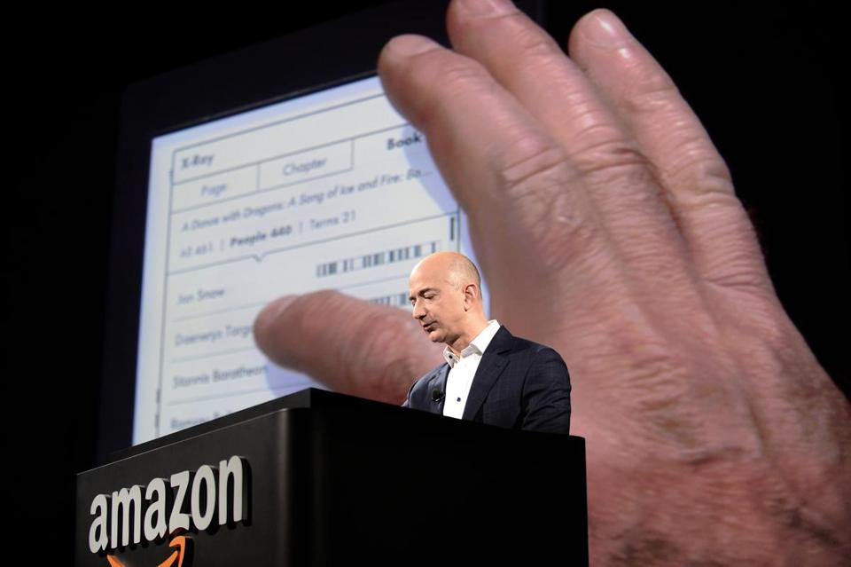 Jeff Bezos, Amazon.com's CEO, introduced the new Kindle Paperwhite in Santa Monica, Calif. It's designed to look like print on paper.