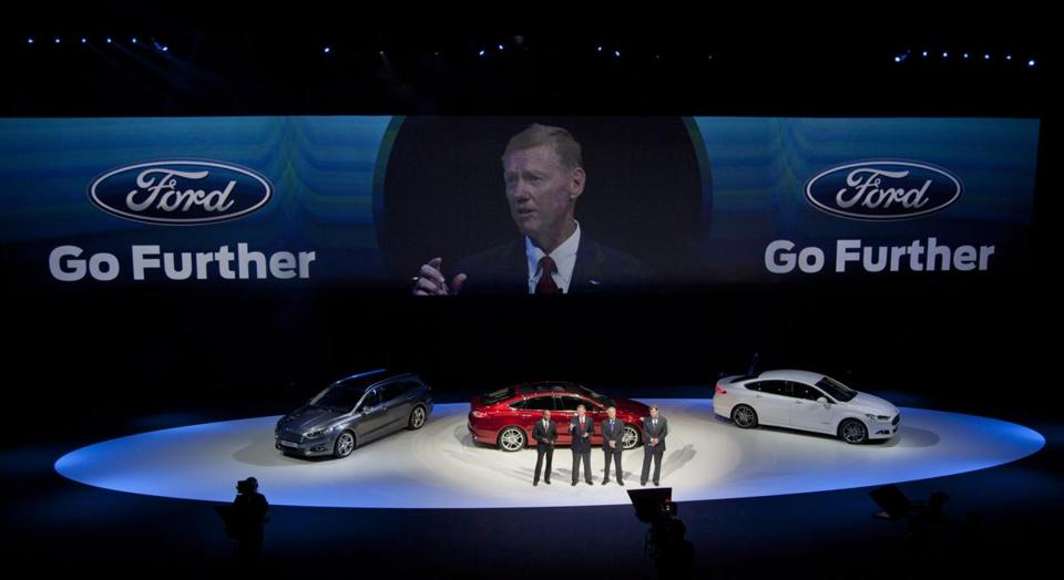 The image of Stephen Odell, CEO of Ford Europe, was superimposed Thursday on a screen in Amsterdam as company executives discussed their new product lines for Europe.