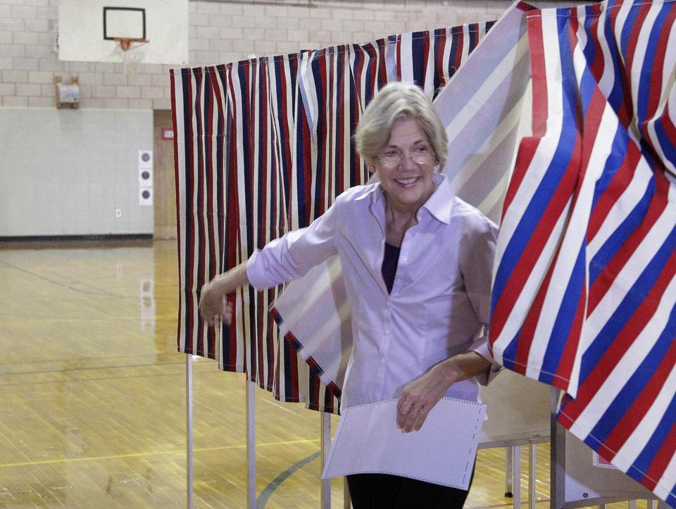 US Senate candidate Elizabeth Warren voted Thursday in the Massachusetts state primary election at the Graham & Parks School in Cambridge.