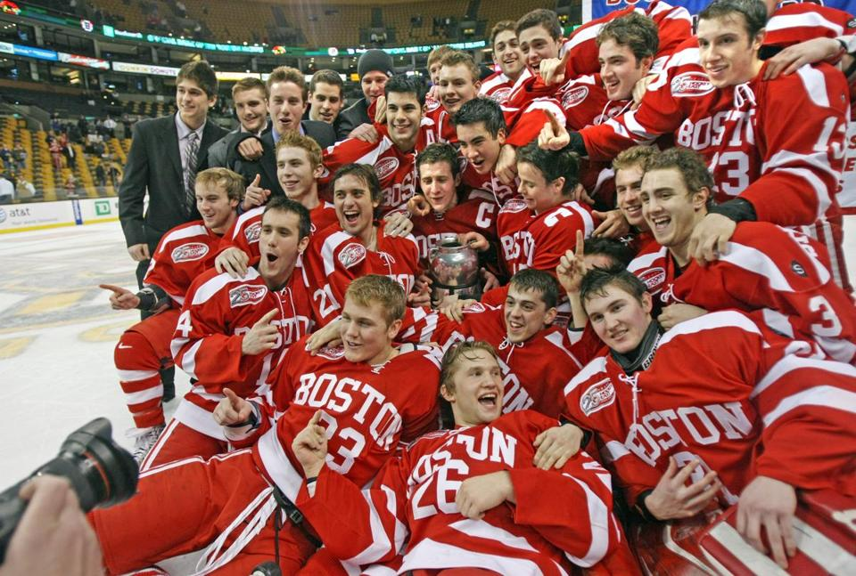 Boston University's hockey team celebrated their Beanpot title after beating Northeastern University in 2009. The team later went on to win the national championship.