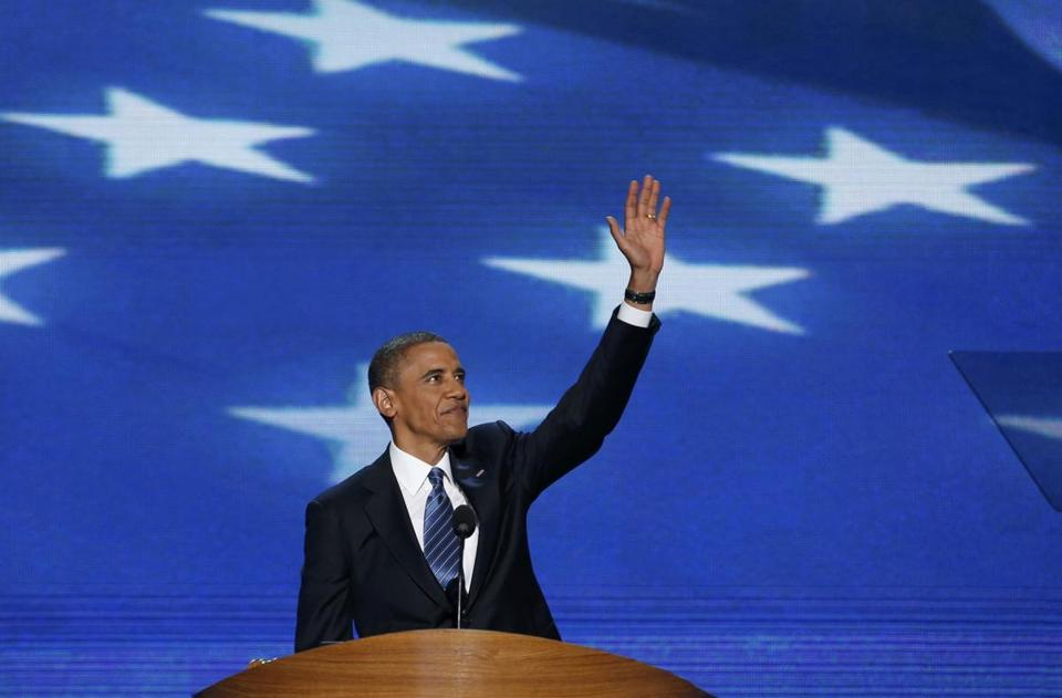 President Obama waved to the crowd at the Democratic National Convention.