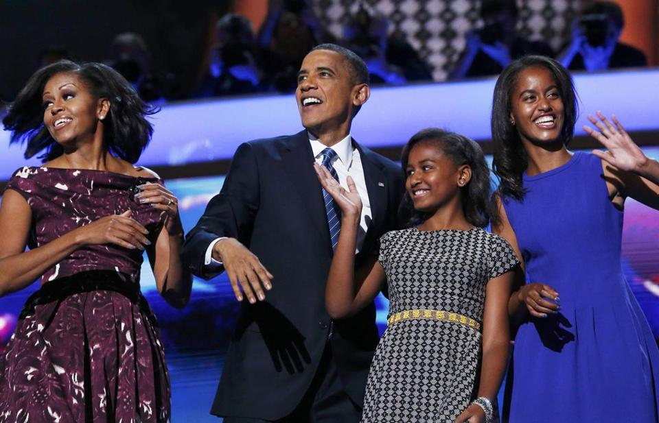 President Obama was joined by his wife, Michelle, and daughters Sasha and Malia at the end of his address at the Democratic convention on Thursday.