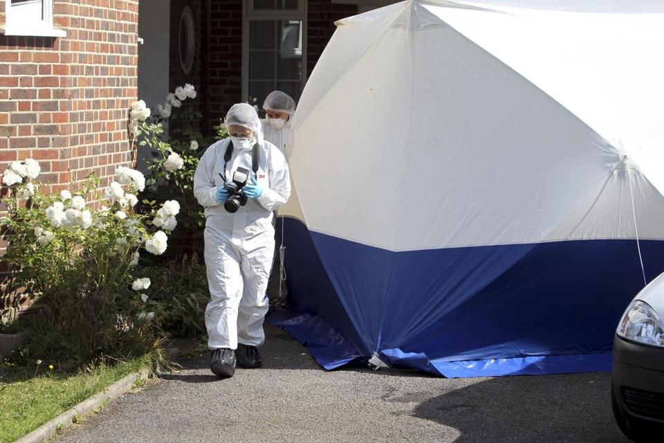 Top, police worked at Saad al-Hilli's home in Britain to investigate the slayings of four people in the French Alps.