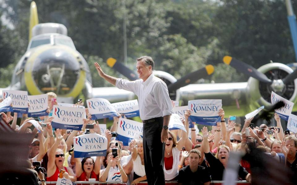 Mitt Romney appeared at the Military Aviation Museum in Virginia Beach, Va., Saturday.