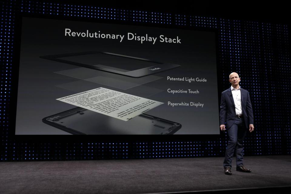 Jeff Bezos, chief executive of Amazon.com, introduced the Kindle Paperwhite tablet last week in California. It's built around an illuminated version of E Ink's black-and-white screen to make it more readable even in bright light.