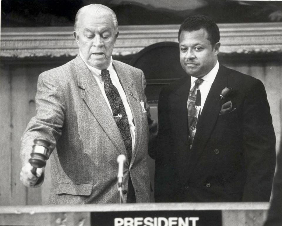"Albert ""Dapper"" O'Neil introduced Bruce Bolling before he was sworn in as city councilor in 1992 in Boston."
