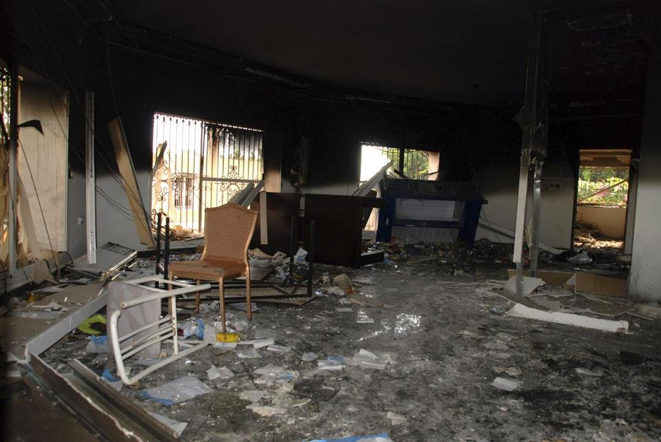 A room in the gutted US consulate in Benghazi, Libya.