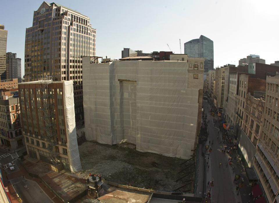 A construction site of the former Filene's in Downtown Crossing.