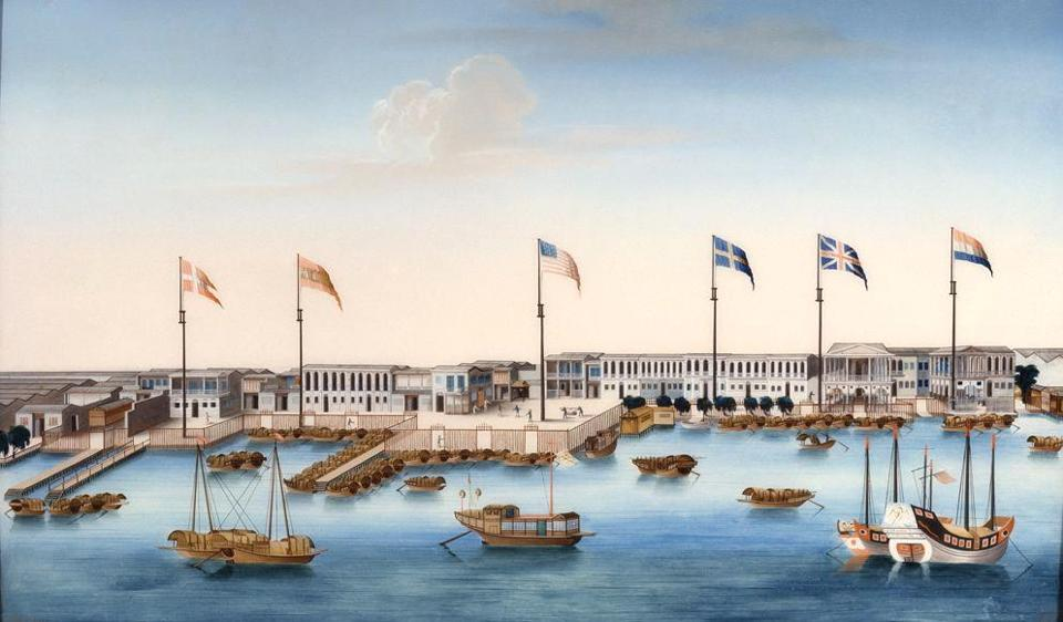 Painting of Canton harbor and factories with foreign flags, 1805.