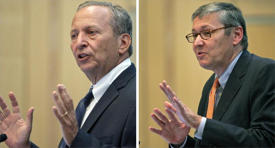 N. Gregory Mankiw (right) and Lawrence Summers teach at Harvard.