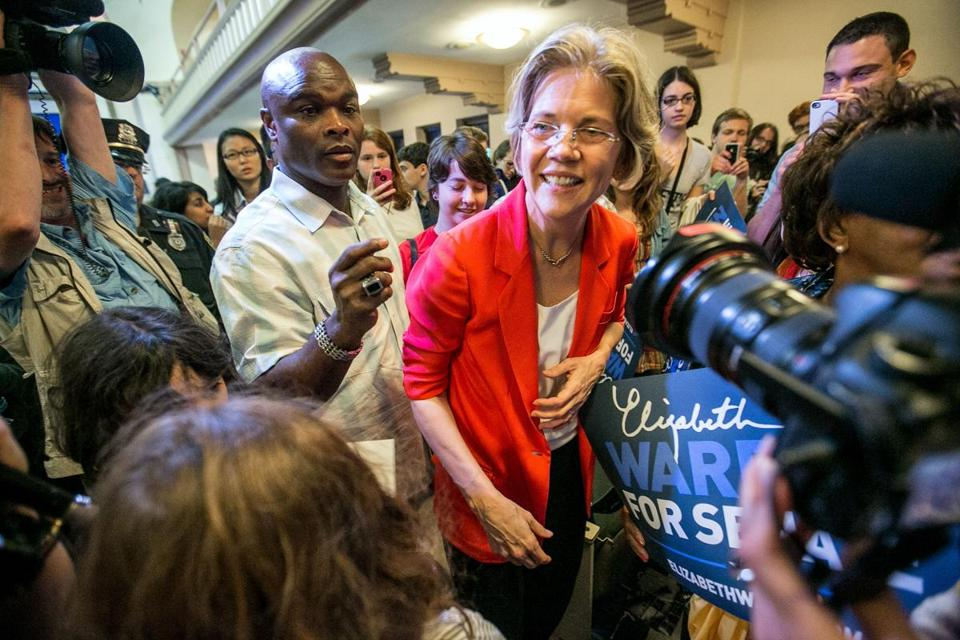 Elizabeth Warren greeted supporters at a recent rally in Boston University.