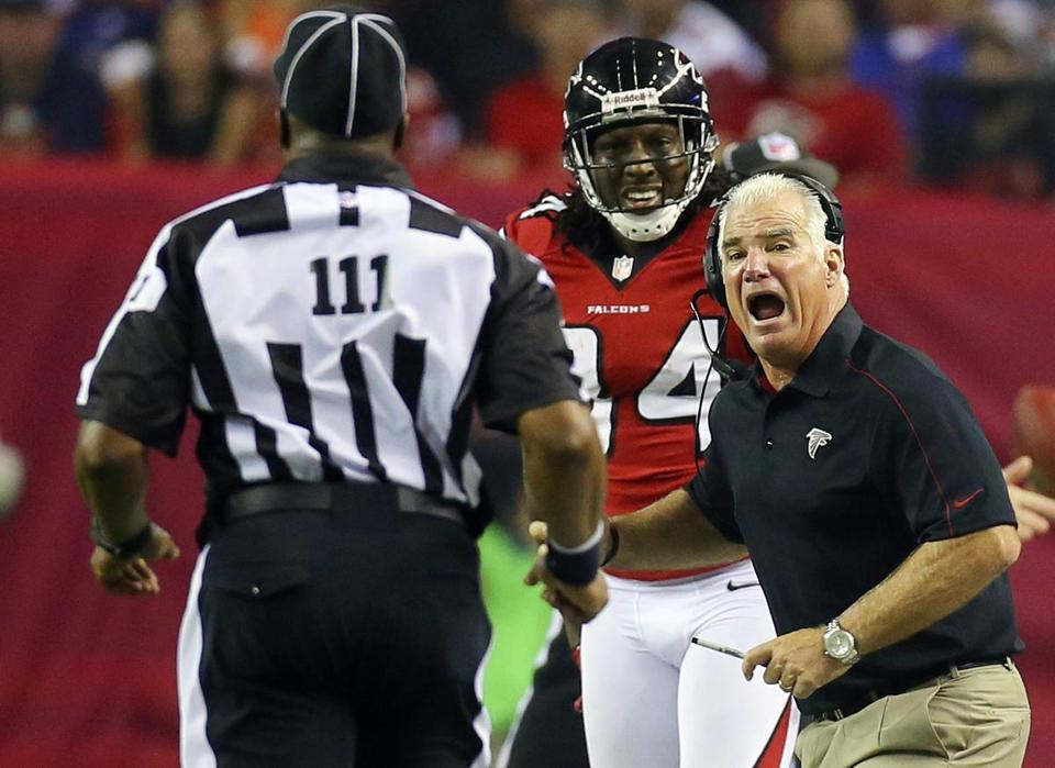 Falcons head coach Mike Smith argued for a pass interference call during Monday Night Football.