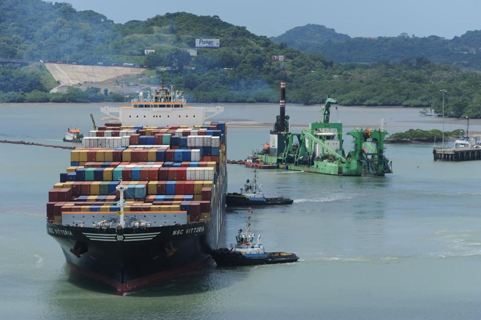 A so-called post-Panamax container ship at the Balboa Port in Panama on Friday.