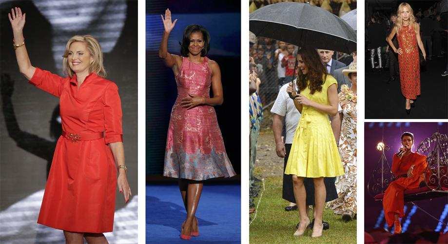 From left: Ann Romney; Michelle Obama; Kate, the Duchess of Cambridge; Rachel Zoe (top); and Rihanna.