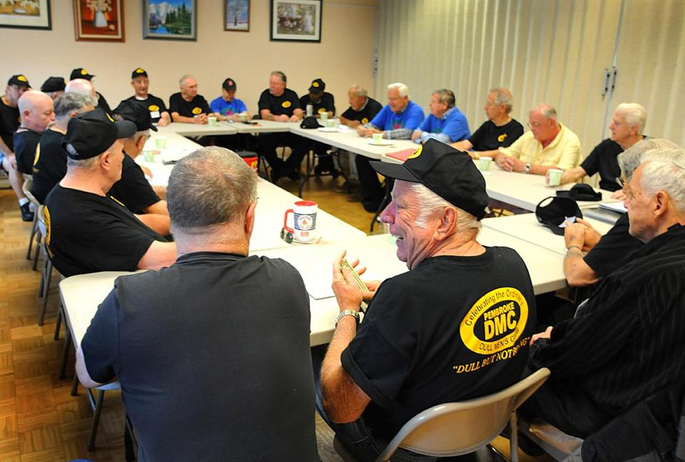 Members of the Pembroke Dull Men's Club get down to business during a recent weekly Wednesday morning session at the town's Senior Center.