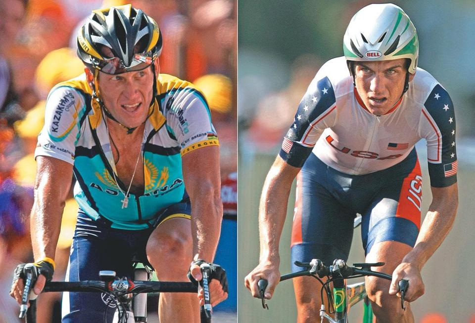 Tyler Hamilton (right) says he has been threatened by his former teammate, Lance Armstrong (left) for the revelations Hamilton made about doping.