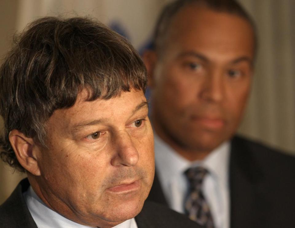 Attorney David Meier, a former district attorney, and Governor Deval Patrick spoke at a press conference Thursday.