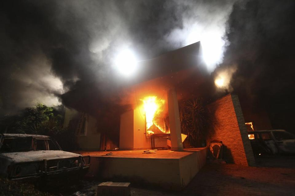 The US Consulate in Benghazi was seen in flames during a deadly assault in 2012.