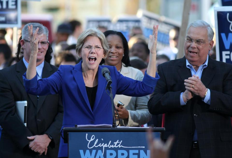 Elizabeth Warren and Mayor Thomas M. Menino appeared together Friday at a rally in Roslindale.