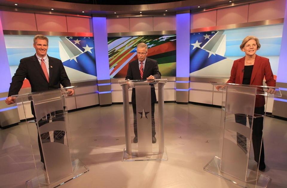 Senate candidates Scott Brown and Elizabeth Warren participated in their first debate on Thursday night.