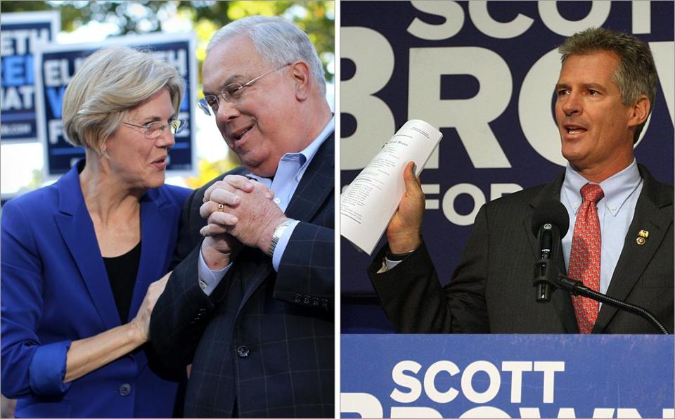 Mayor Thomas M. Menino endorsed Elizabeth Warren (left) at a rally in Roslindale Friday. Scott Brown (right) discussed Elizabeth Warren's work with Travelers Insurance.