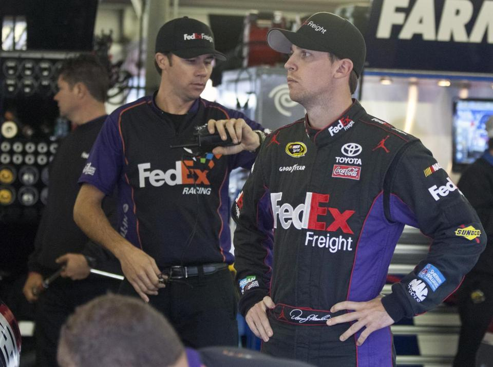 Denny Hamlin (right) will start the Sylvania 300 from the 32d position, meaning he has a lot of traffic to negotiate.