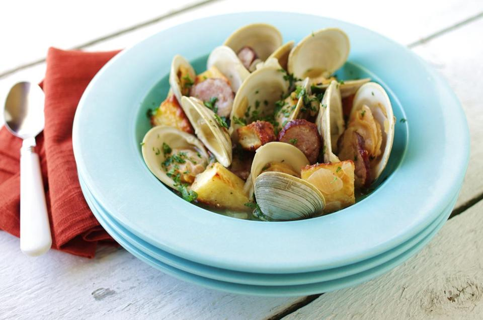 Clams with chorizo and potatoes.