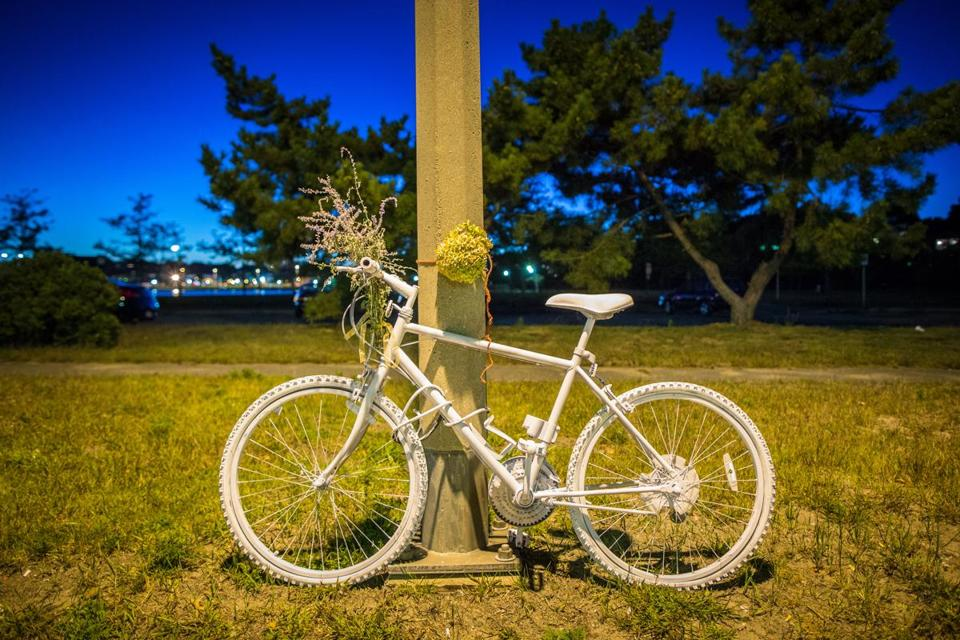 "A white ""ghost bike"" has been placed along Morrissey Boulevard in Dorchester near where a bicyclist, Doan Bui, was struck and killed Sept. 14 by an alleged drunken driver."