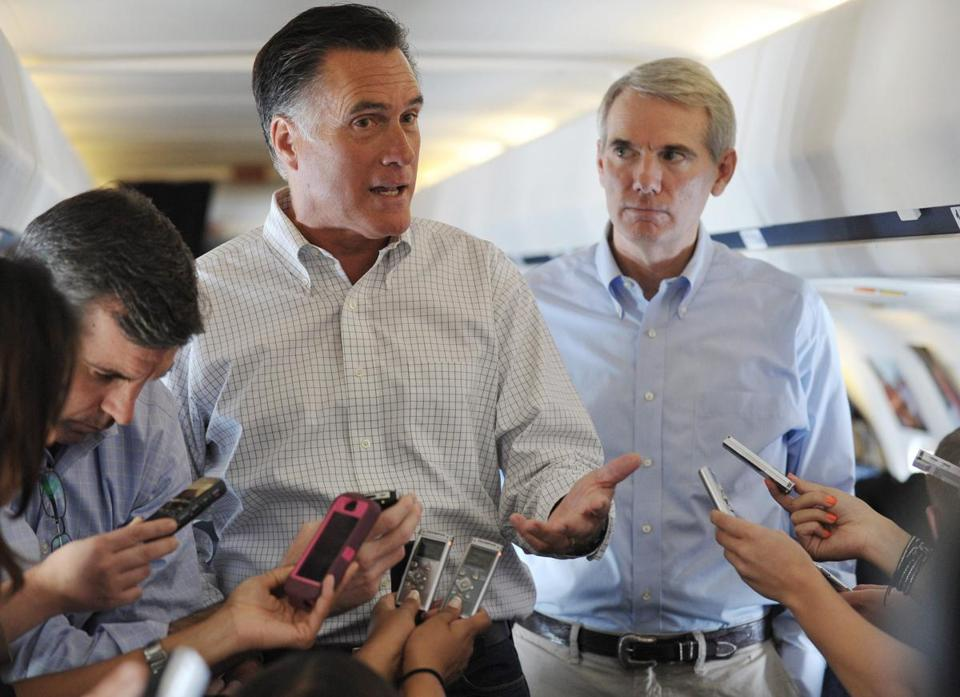 Republican presidential candidate Mitt Romney has been practicing timed debates with Senator Rob Portman of Ohio (right), who stands in for President Obama.
