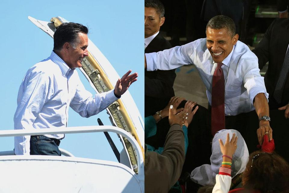 GOP presidential candidate Mitt Romney boarded a plane Sunday in Los Angeles heading for campaign stop in Denver while President Obama greeted supporters during a Saturday campaign rally in Milwaukee.