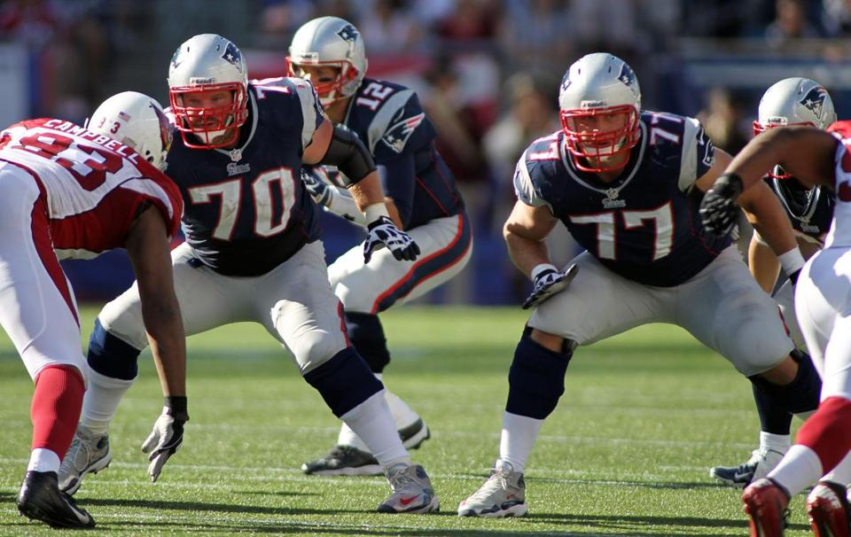 New England Patriots guard Logan Mankins, left, and tackle Nate Solder blocked for quarterback Tom Brady against the Arizona Cardinals on Sept. 16.