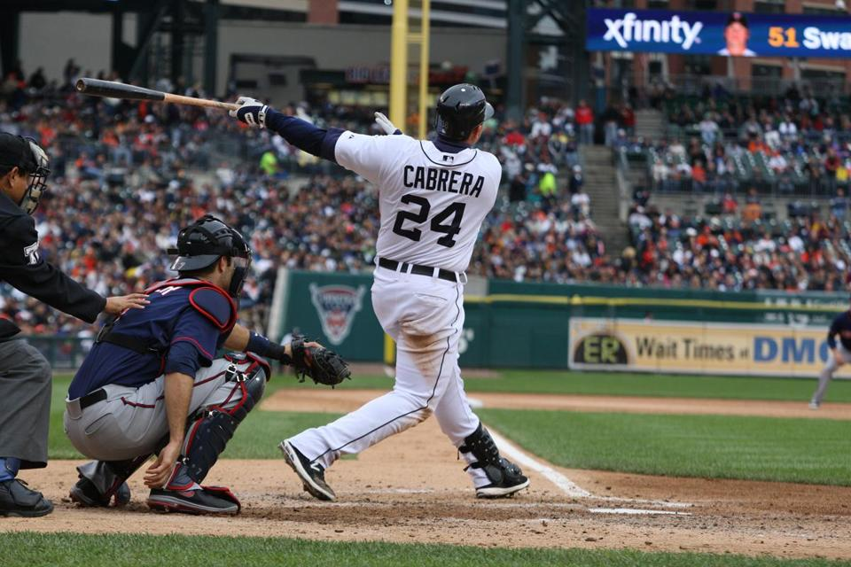 Miguel Cabrera belts his 42d round-tripper Saturday, temporarily making the AL leader in home runs, average, and RBIs