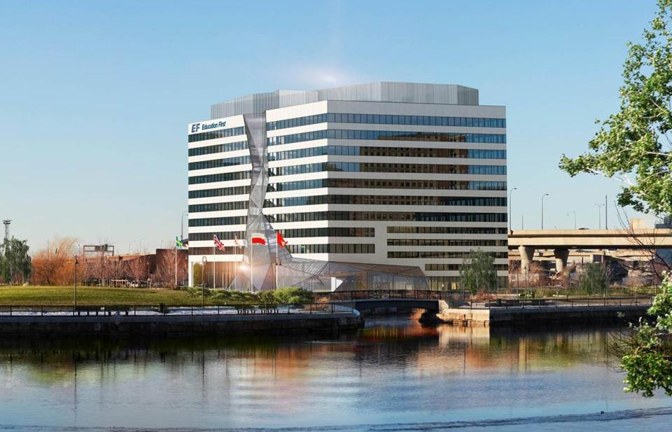 EF First Education's new $125 million, 300,000-square-foot headquarters will be situated at the foot of the Zakim Bridge. Construction is to begin Tuesday and be completed by spring of 2014.
