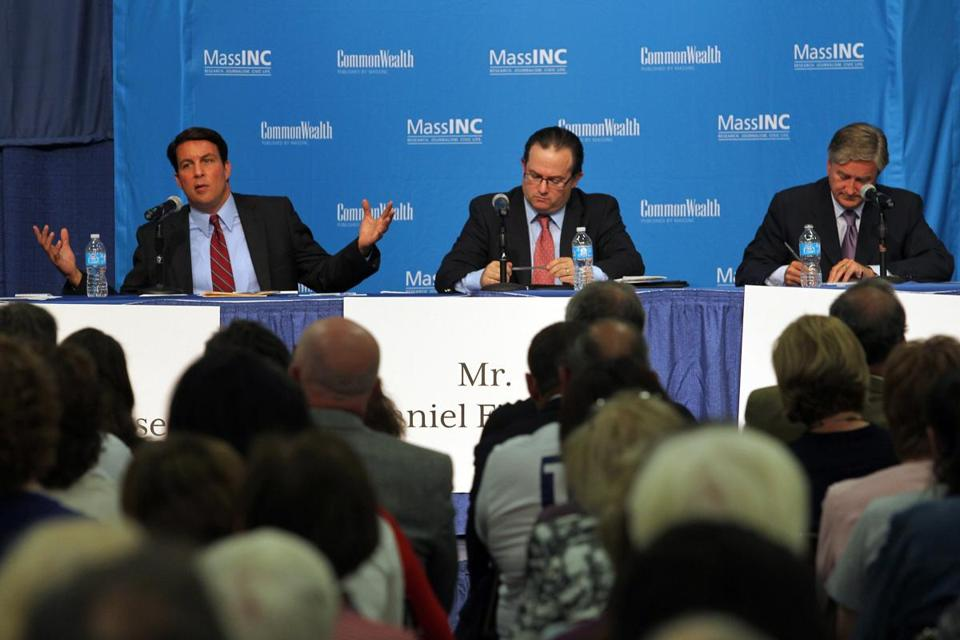 Richard Tisei, Daniel Fishman, and John Tierney focused mostly on the economy and jobs.