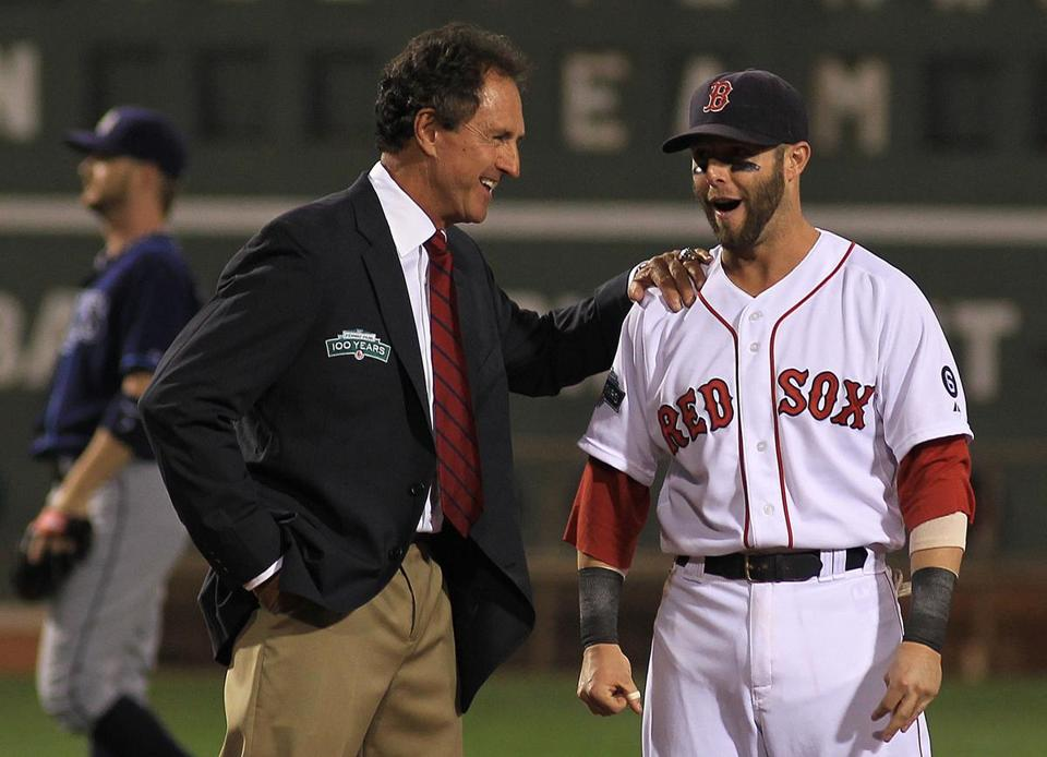 Fred Lynn (left) and Dustin Pedroia made quite a pair as the celebration amid a lost season continued with the naming of the All-Fenway Park Team.