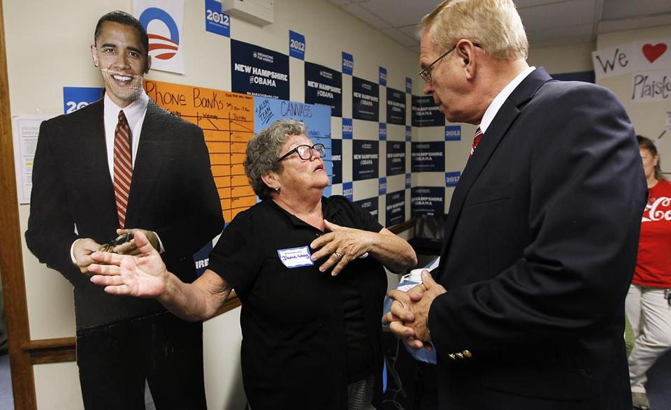 Organizer Jane Lang welcomed former Ohio gGovernor Ted Strickland to a new phone bank in Salem, N.H., on Thursday. Strickland was campaigning for President Obama.