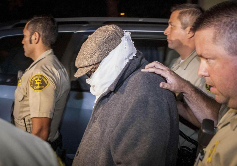 Nakoula Basseley Nakoula was escorted out of his home outside of Los Angeles by sheriff's officers on Thursday.