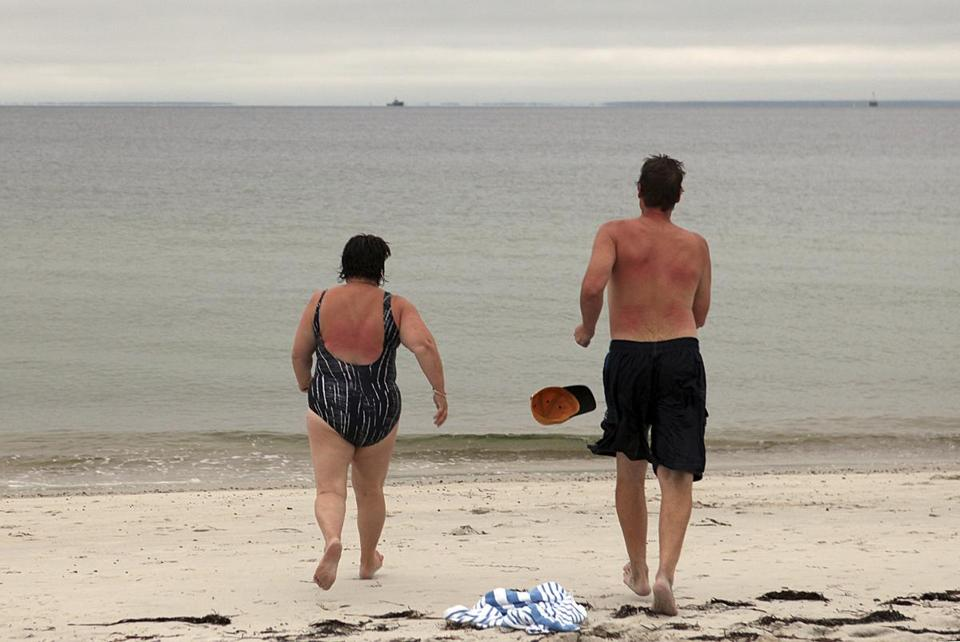 Claudette and Wayne Reimer of Ontario headed for the water last Saturday at the Sea Crest Beach Hotel in North Falmouth.
